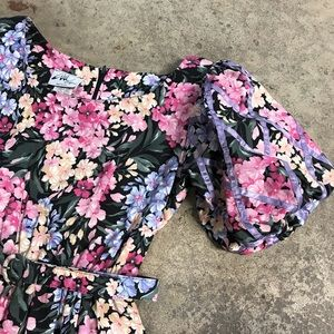 Vintage Basket Weave Ribbon Floral Midi Dress